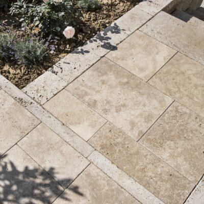 Terrassenplatten Travertin Nussbraun
